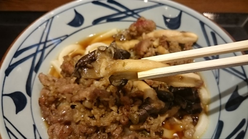 丸亀製麺牛肉ひらたけしぐれ煮ぶっかけのひらたけ
